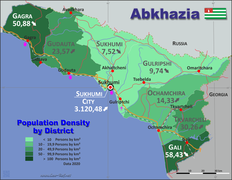 Map Abkhazia - Population density