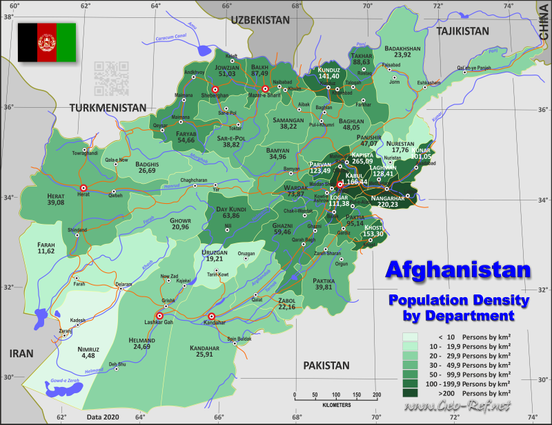 Map Afghanistan - Administrative division - Population density 2019