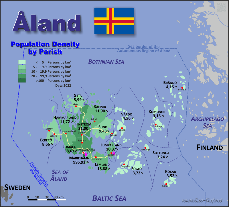 Map Åland Island - Population density