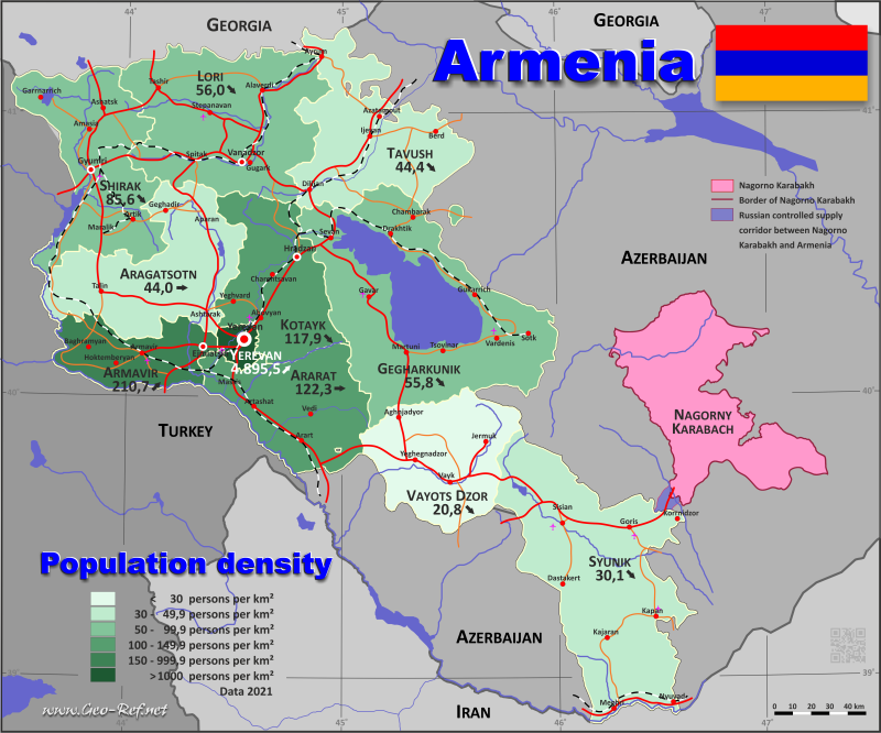 Map Armenia - Population density