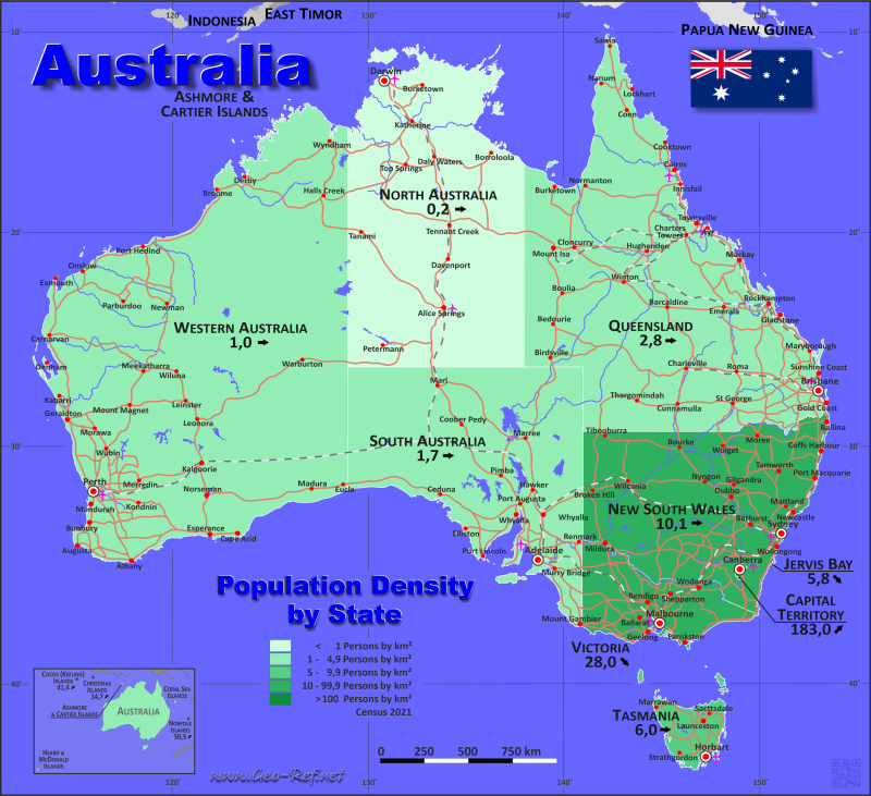 Map Australia - Administrative division - Population density 2019