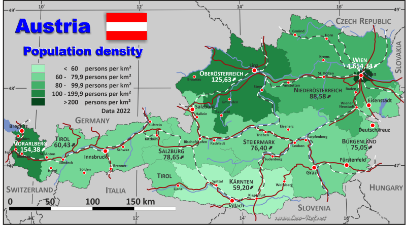 Map Austria - Population density