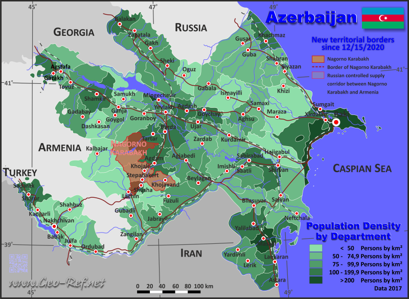Map Azerbaijan - Population density