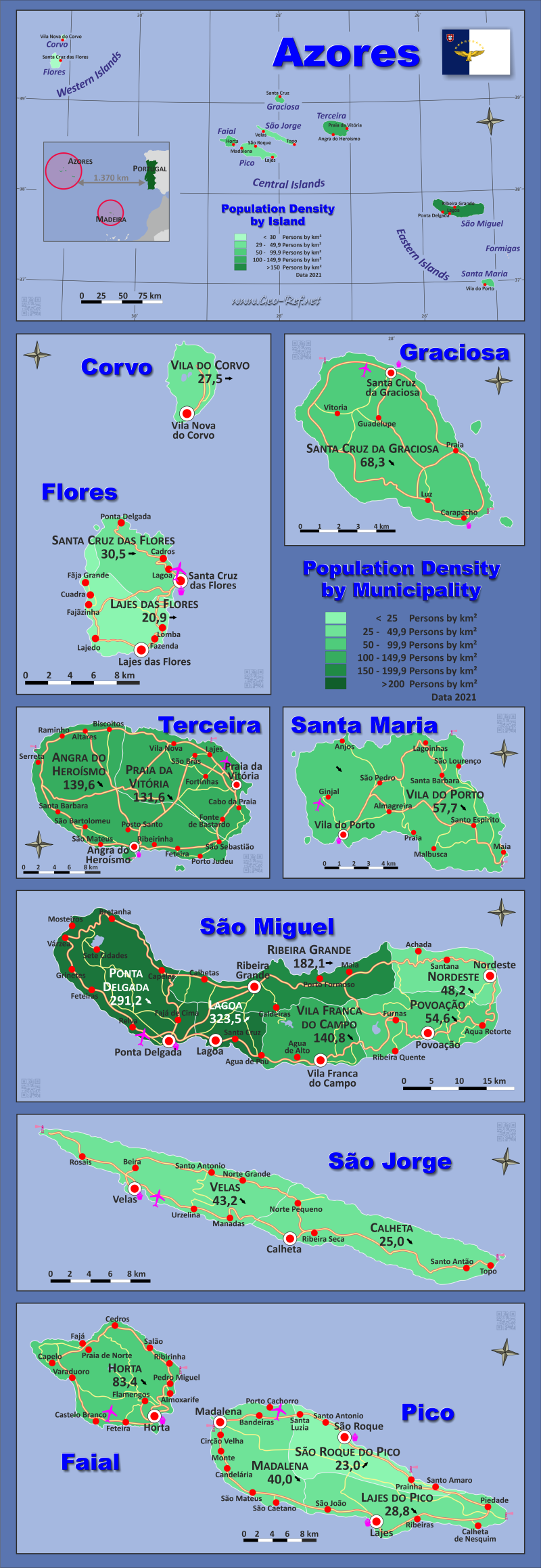 Map Azores - Population density