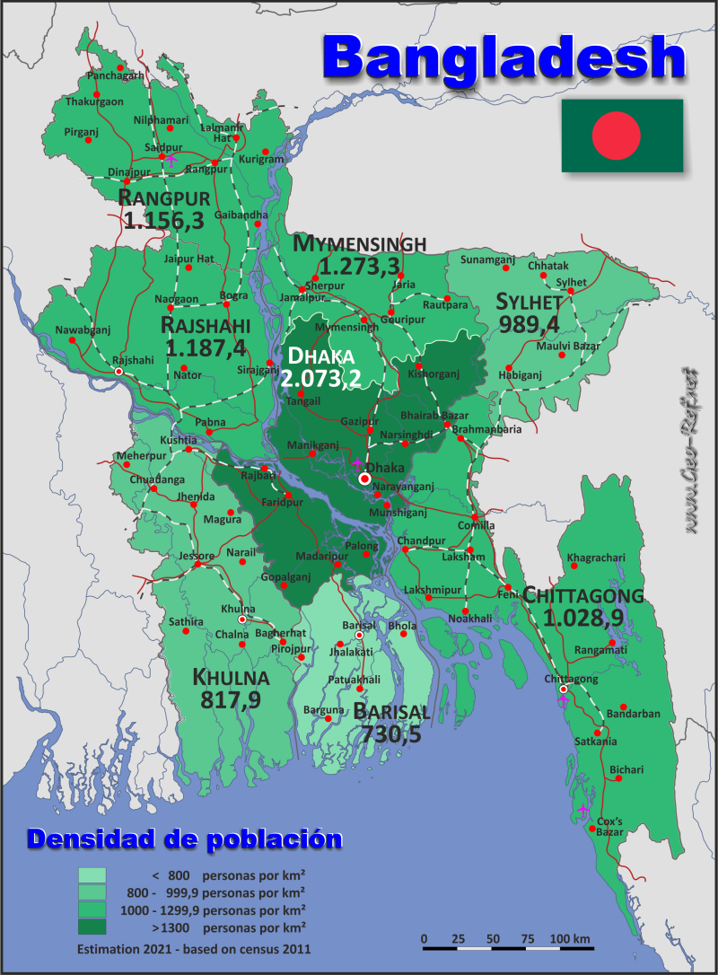 Map Bangladesh - Population density