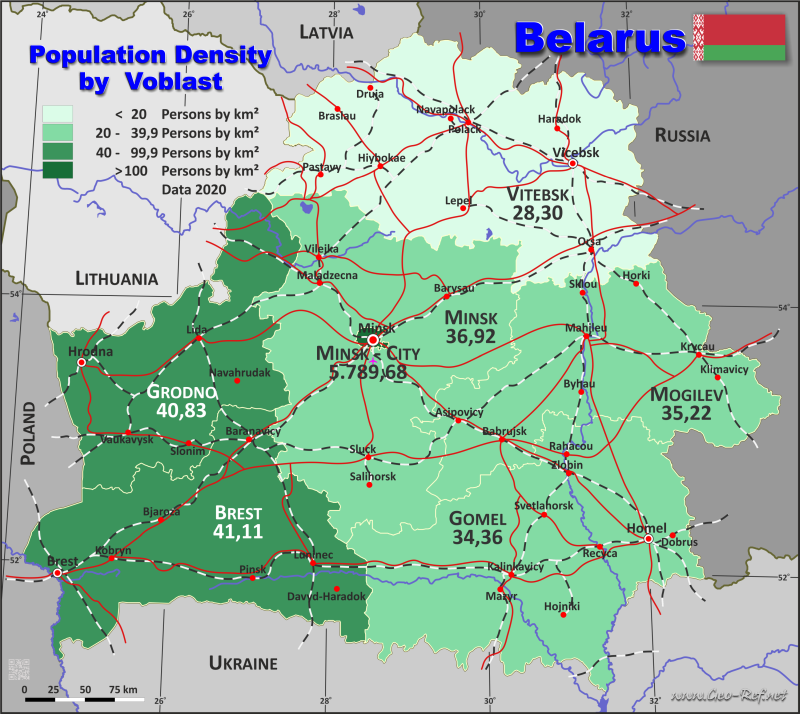 Map Belarus - Population density