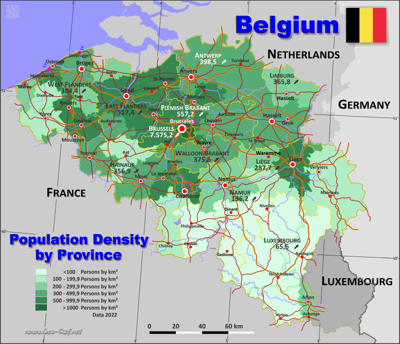 Map Belgium - Population density