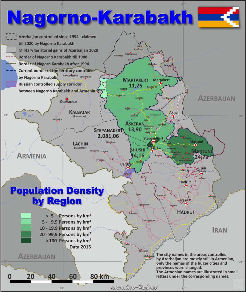 Map Nagorno-Karabakh - Administrative division - Population density 2015