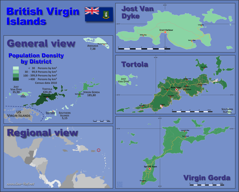 Map British Virgin Islands - Population density