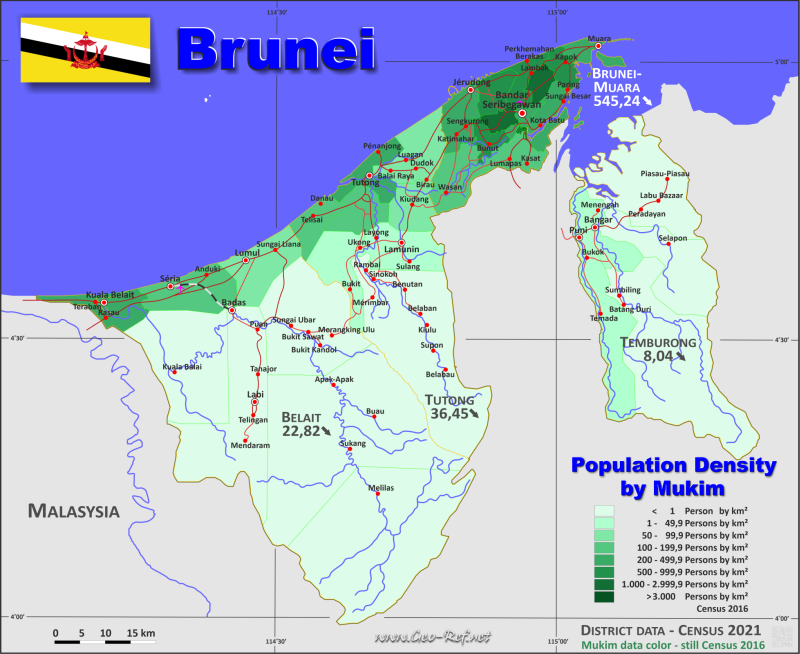 Map Brunei - Administrative division - Population density 2019