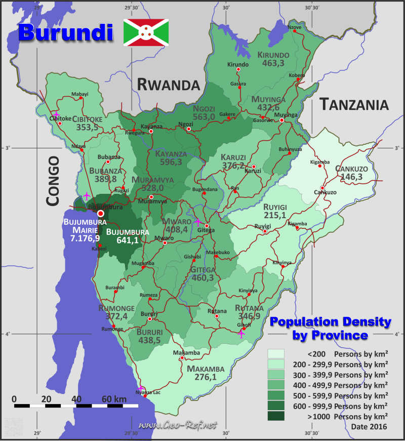 Map Burundi - Administrative division - Population density 2016