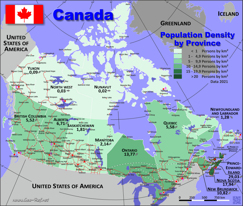 Map Canada - Population density