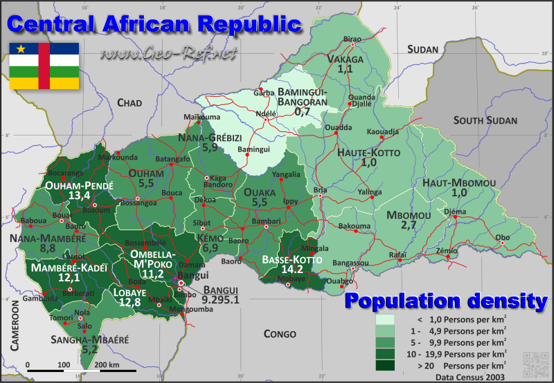 Map Central African Republic - Population density