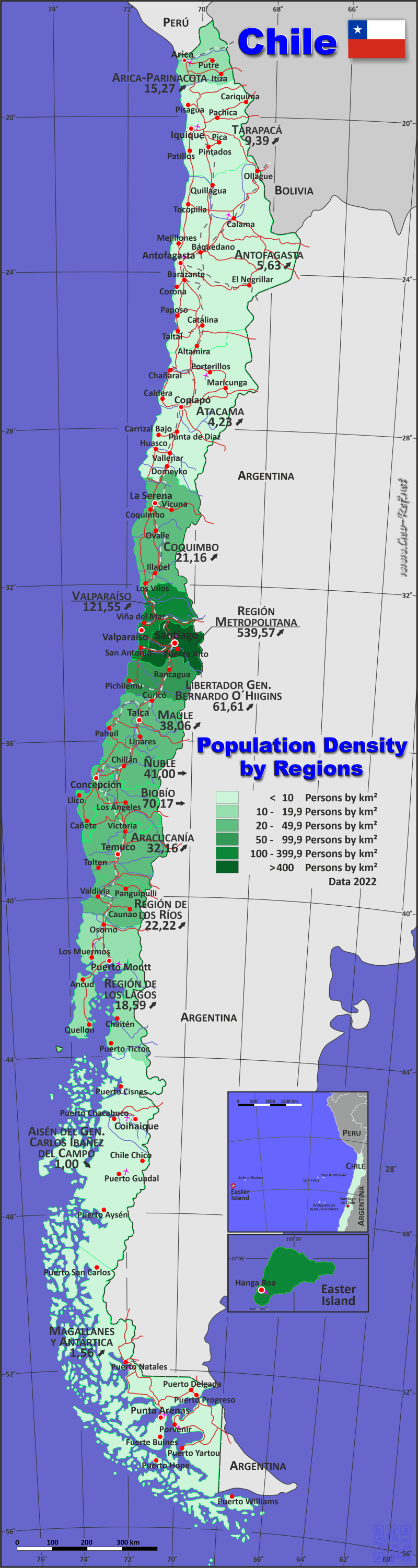 Map Chile - Administrative division - Population density 2017