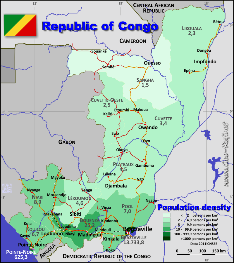 Map Congo - Brazaville - Population density