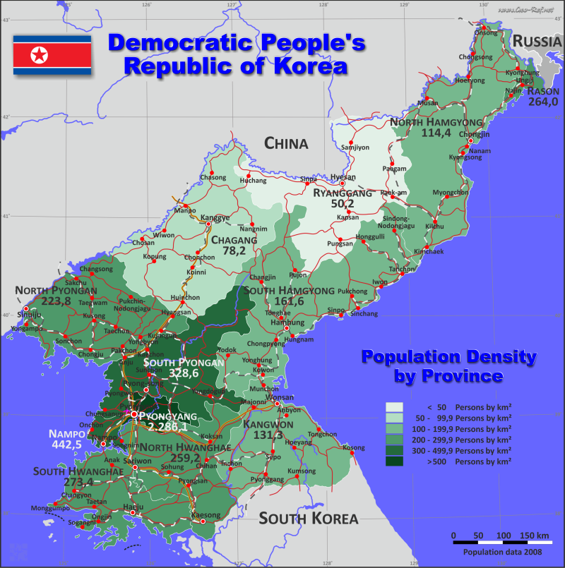 Map Korea North - Administrative division - Population density 2020