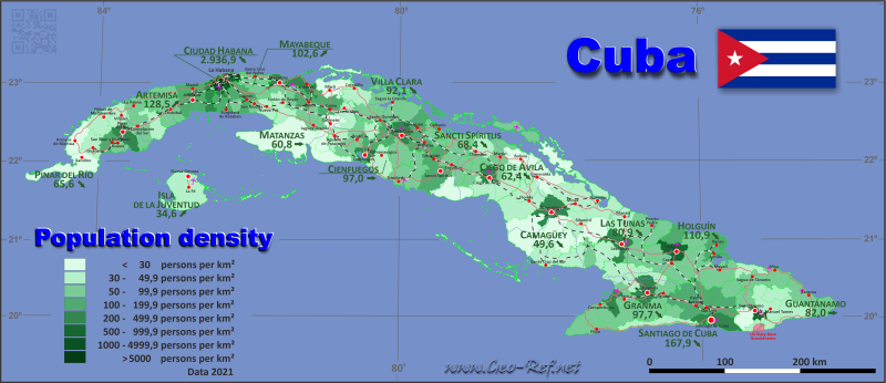 Map Cuba - Administrative division - Population density 2020