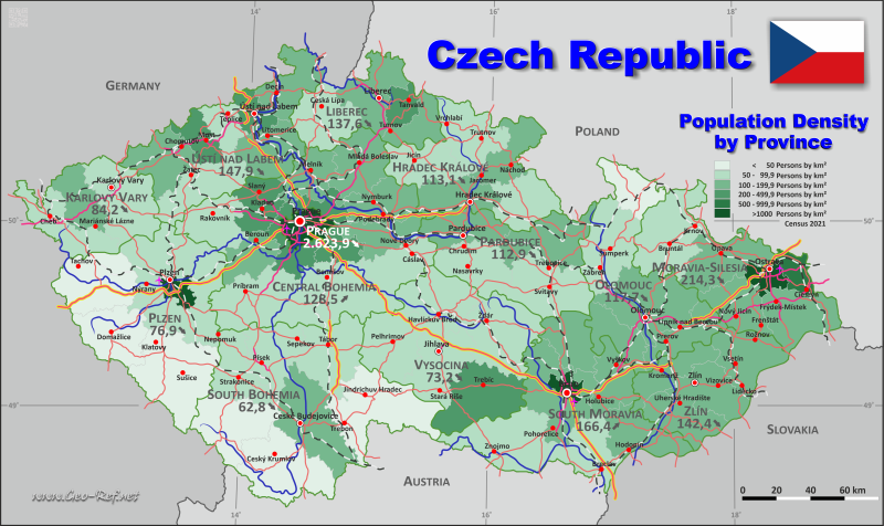 Map Czech Republic - Administrative division - Population density 2019