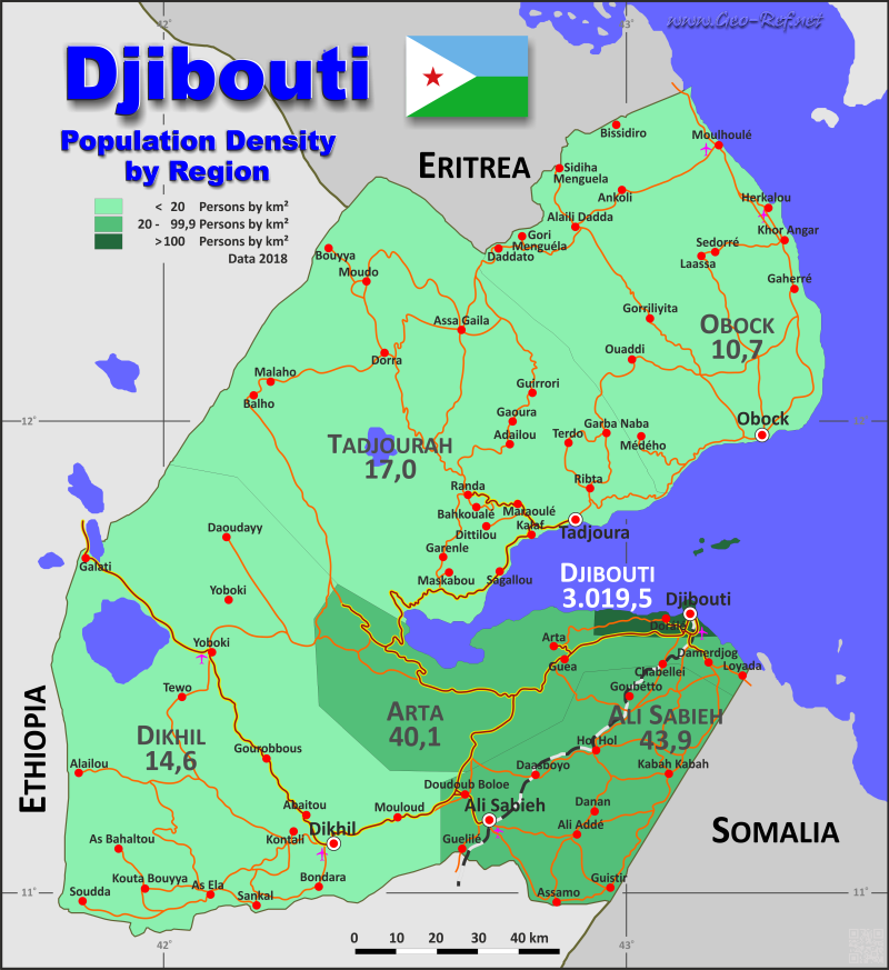 Map Djibouti - Administrative division - Population density 2018