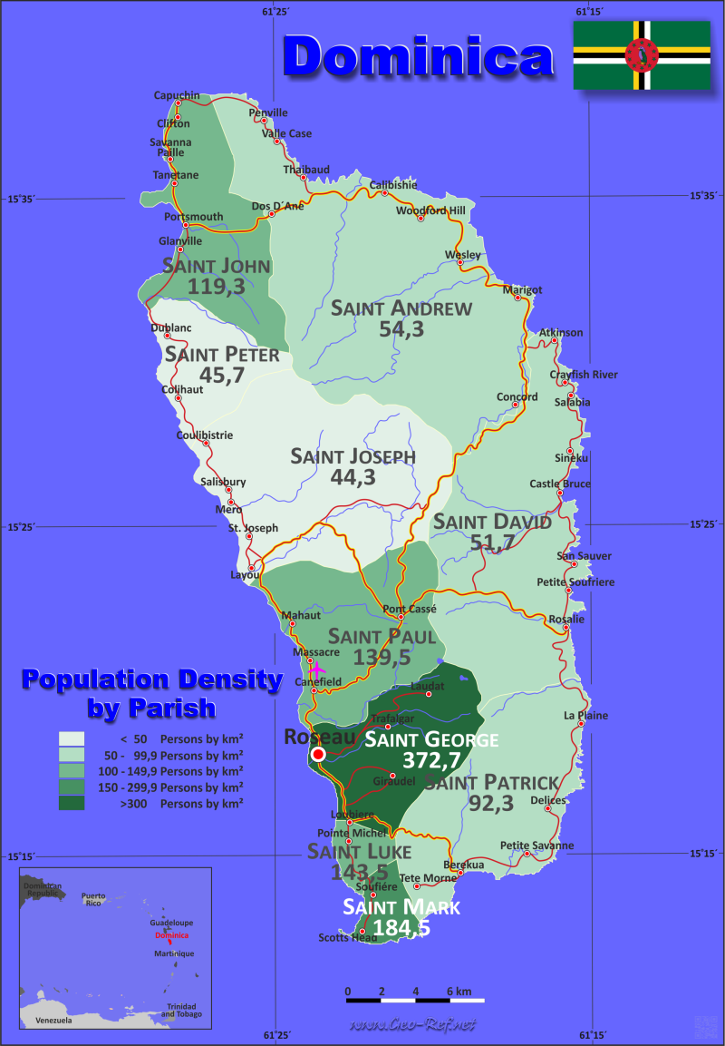 Map Dominica - Administrative division - Population density 2020