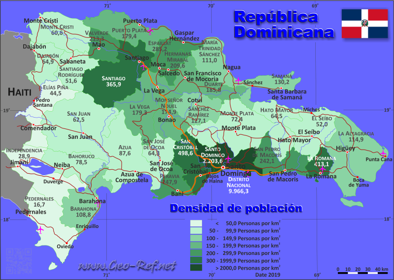 Map Dominican Republic - Population density