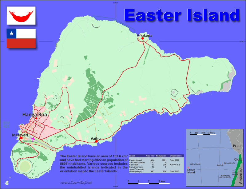 Map Easter Island - Population density