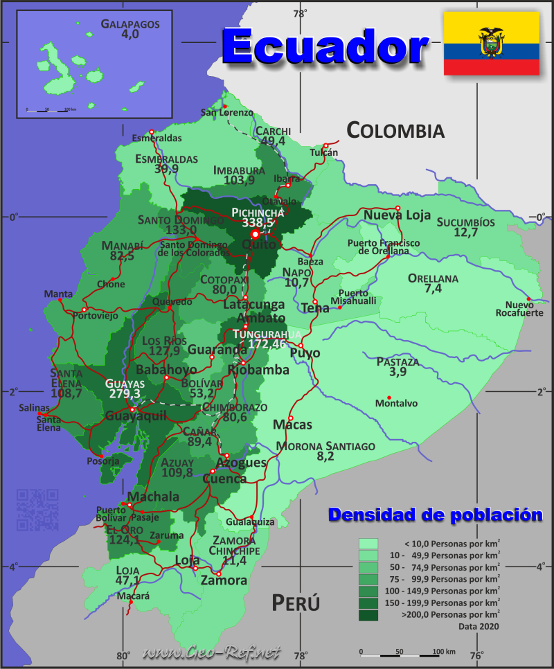 Map Ecuador - Population density