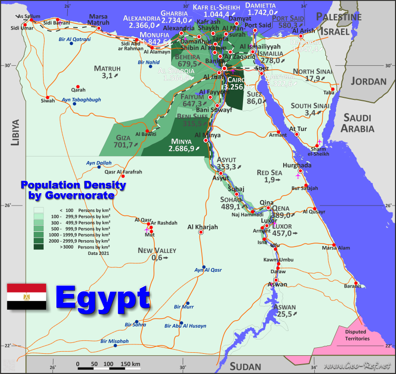 Map Egypt - Administrative division - Population density 2019