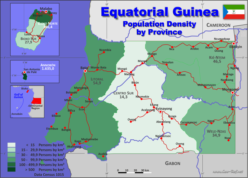 Map Guinea Equatorial - Administrative division - Population density 2015