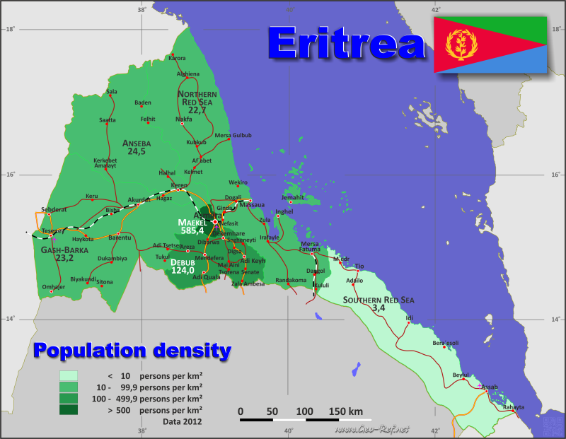 Map Eritrea - Administrative division - Population density 2017