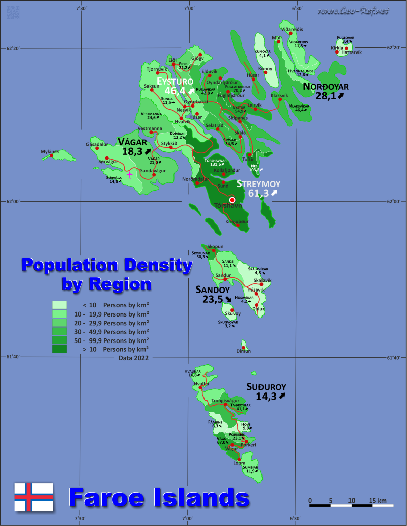 Map Faroe Islands - Population density