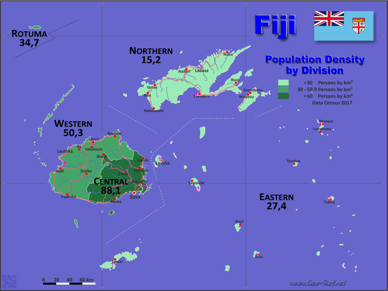 Map Fiji - Administrative division - Population density 2017