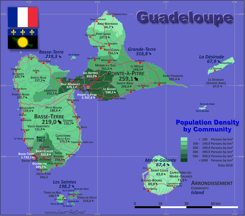 Map Guadeloupe - Population density