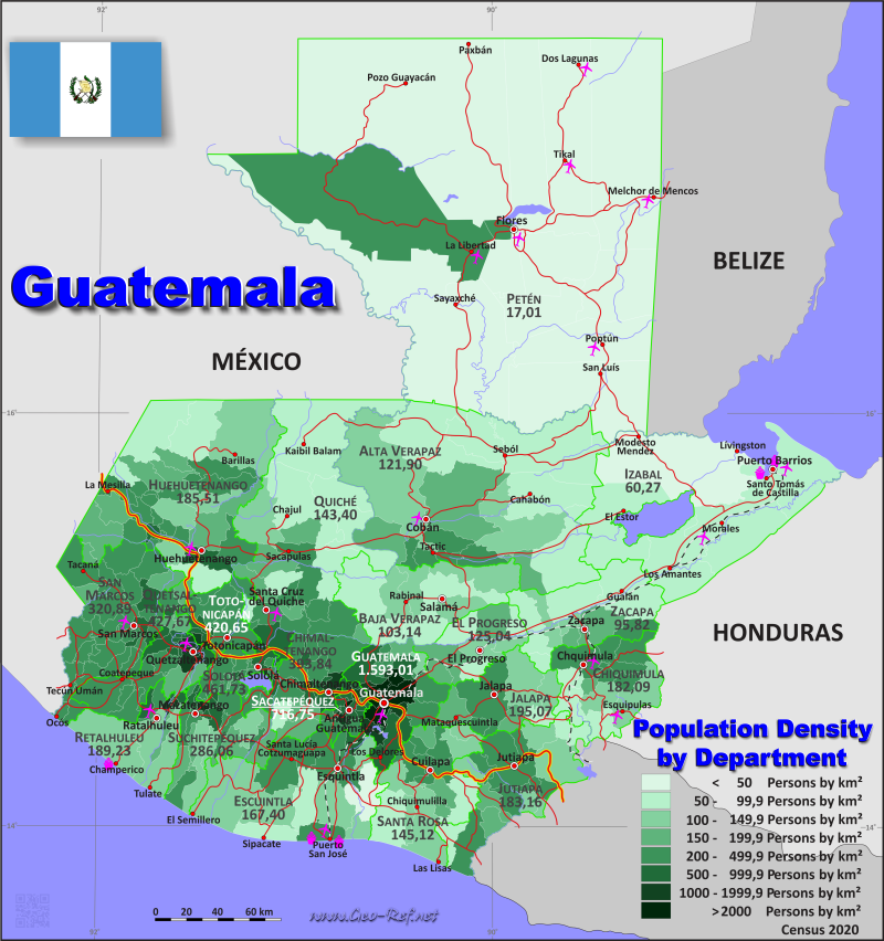 Map Guatemala - Administrative division - Population density 2018