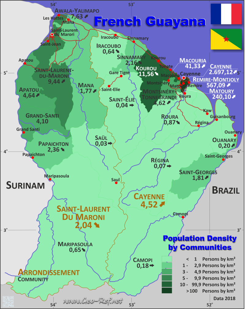 Map French Guiana - Population density