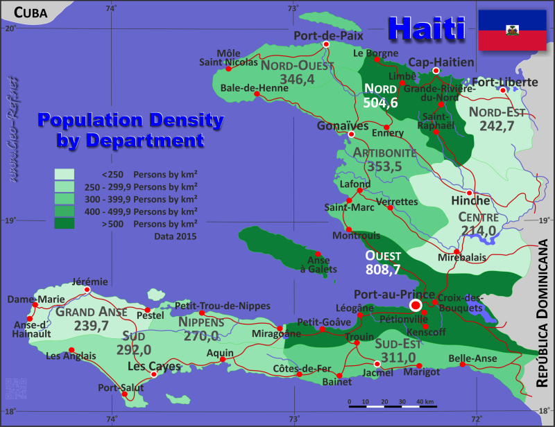 Map Haiti - Administrative division - Population density 2015