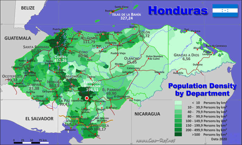 Map Honduras - Population density