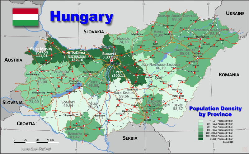Map Hungary - Administrative division - Population density 2019