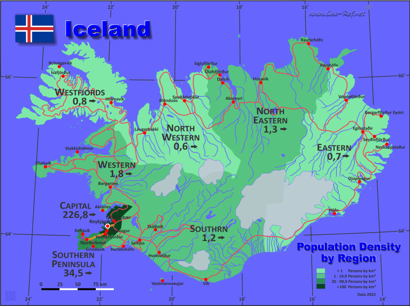 Map Iceland - Administrative division - Population density 2020