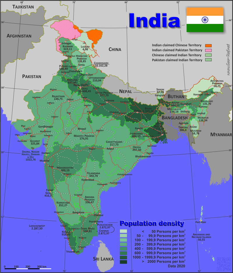 Map India - Population density