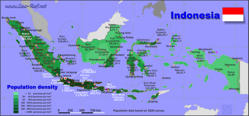 Map Indonesia - Administrative division - Population density 2019