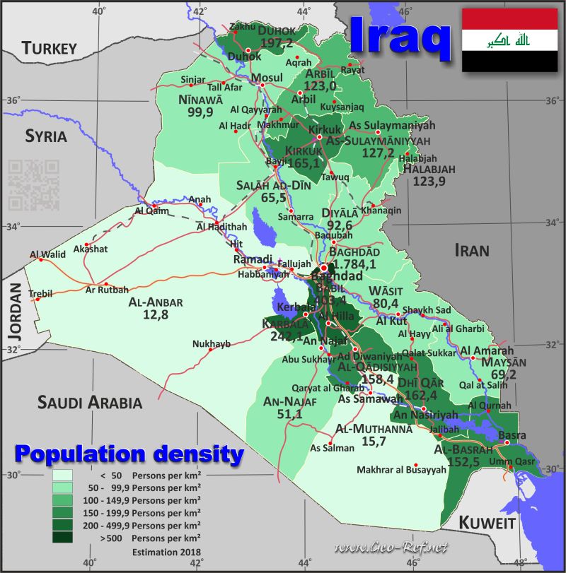 Map Iraq - Administrative division - Population density 2018