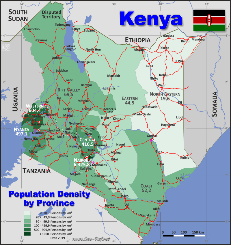 Map Kenya - Population density