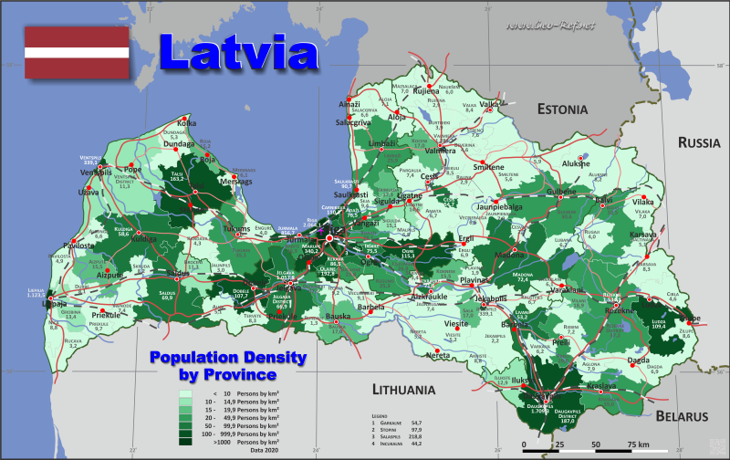 Map Latvia - Administrative division - Population density 2020