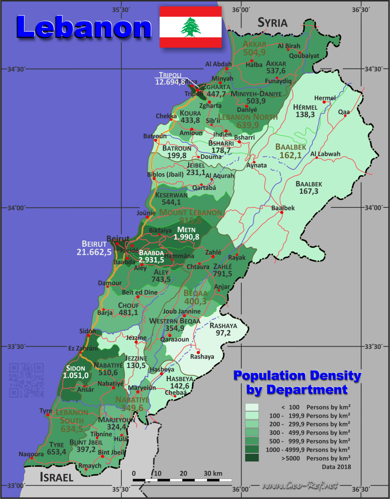 Map Lebanon - Administrative division - Population density 2018