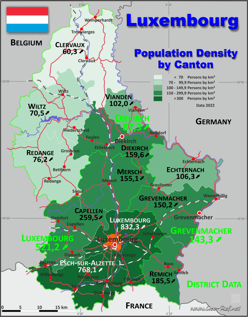 Map Luxembourg - Population density