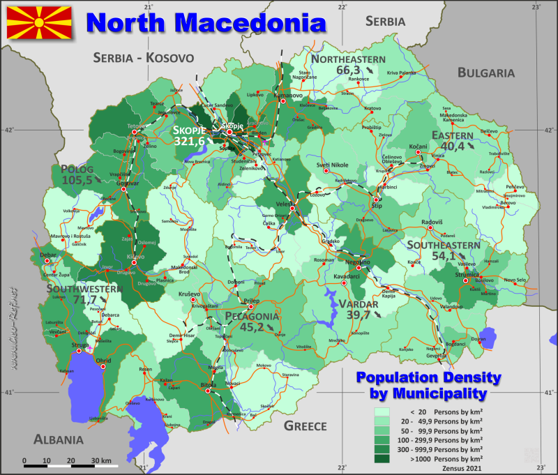 Map North-Macedonia - Administrative division - Population density 2018
