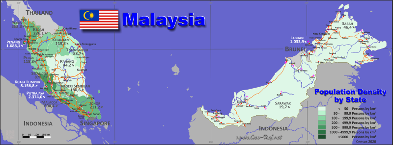 Map Malaysia - Population density