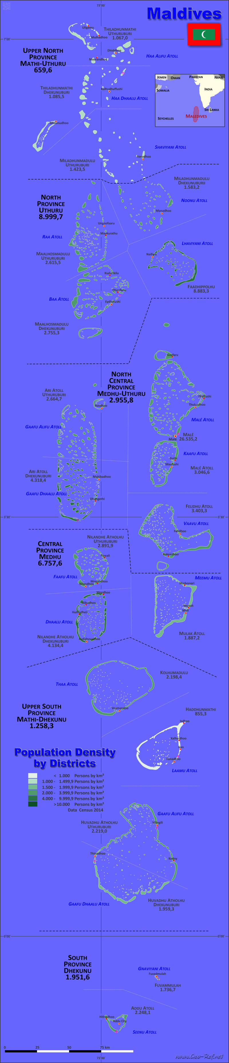 Map Maldives - Population density