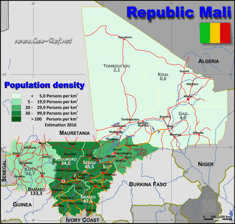 Map Mali - Population density
